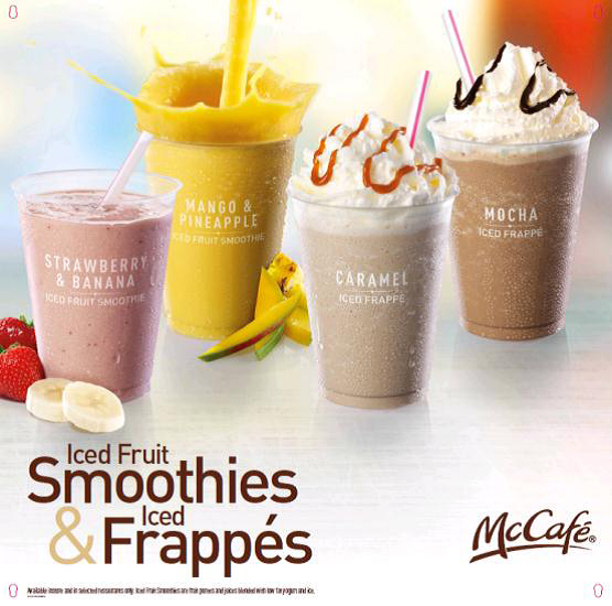 Iced Fruit Smoothies and Iced Frappés available now